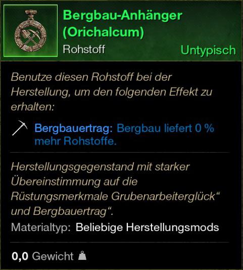 Bergbau Anhänger (Orichalcum)