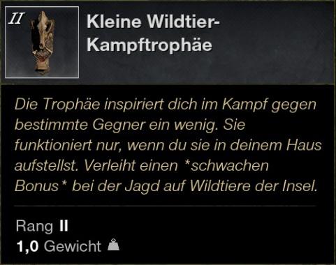 Kleine Wildtier Kampftrophäe