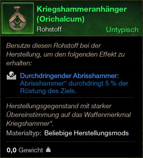 Kriegshammeranhänger (Orichalcum)