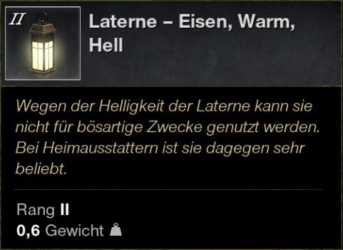 Laterne – Eisen, Warm, Hell