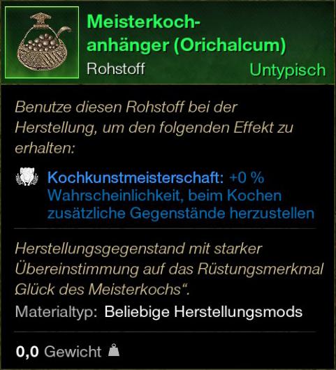 Meisterkoch Anhänger (Orichalcum)