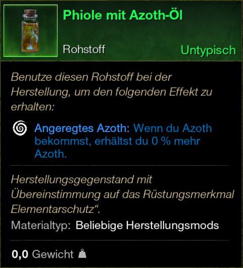 Phiole mit Azoth Öl