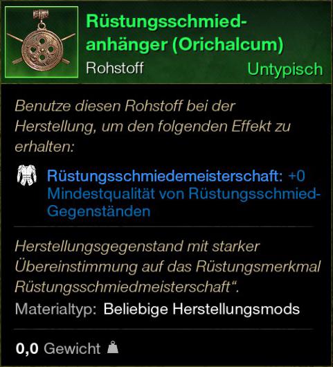 Rüstungsschmied Anhänger (Orichalcum)