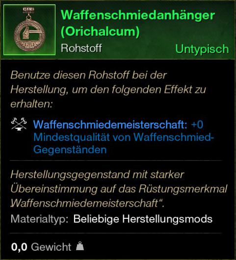 Waffenschmiedeanhänger (Orichalcum)