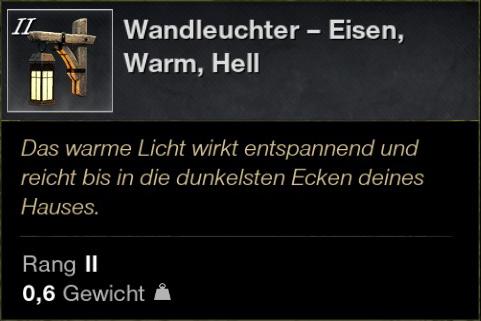 Wandleuchter – Eisen, Warm, Hell