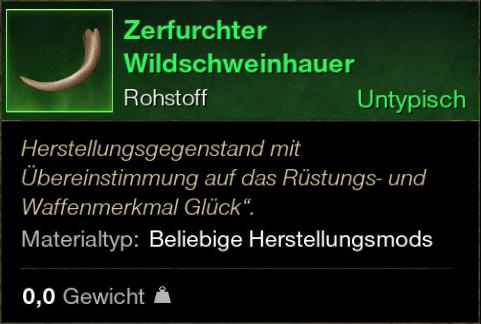 Zerfurchter Wildschweinhauer