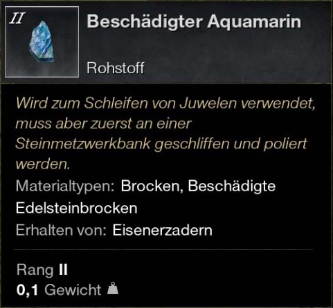 Beschädigter Aquamarin