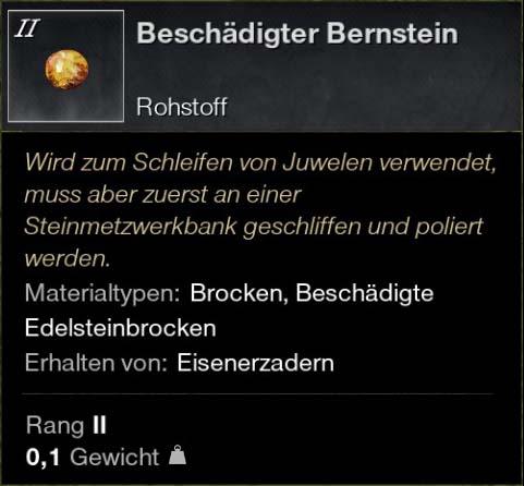 Beschädigter Bernstein