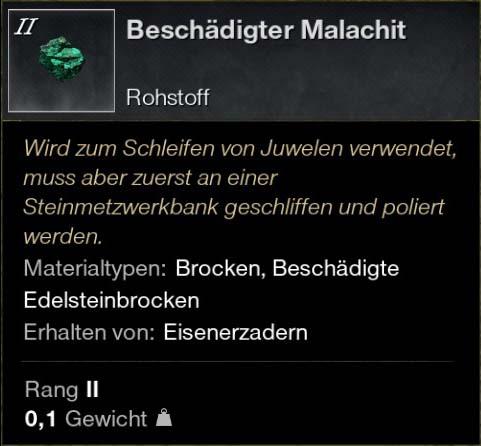 Beschädigter Malachit