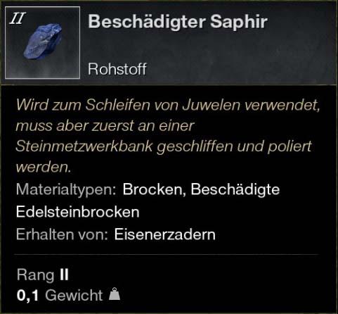 Beschädigter Saphir